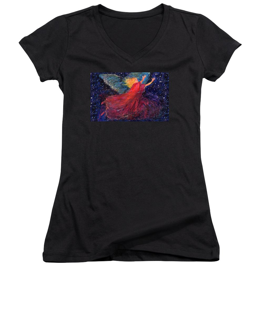 Angel Women's V-Neck T-Shirt featuring the painting Starry Angel by Diana Ludwig
