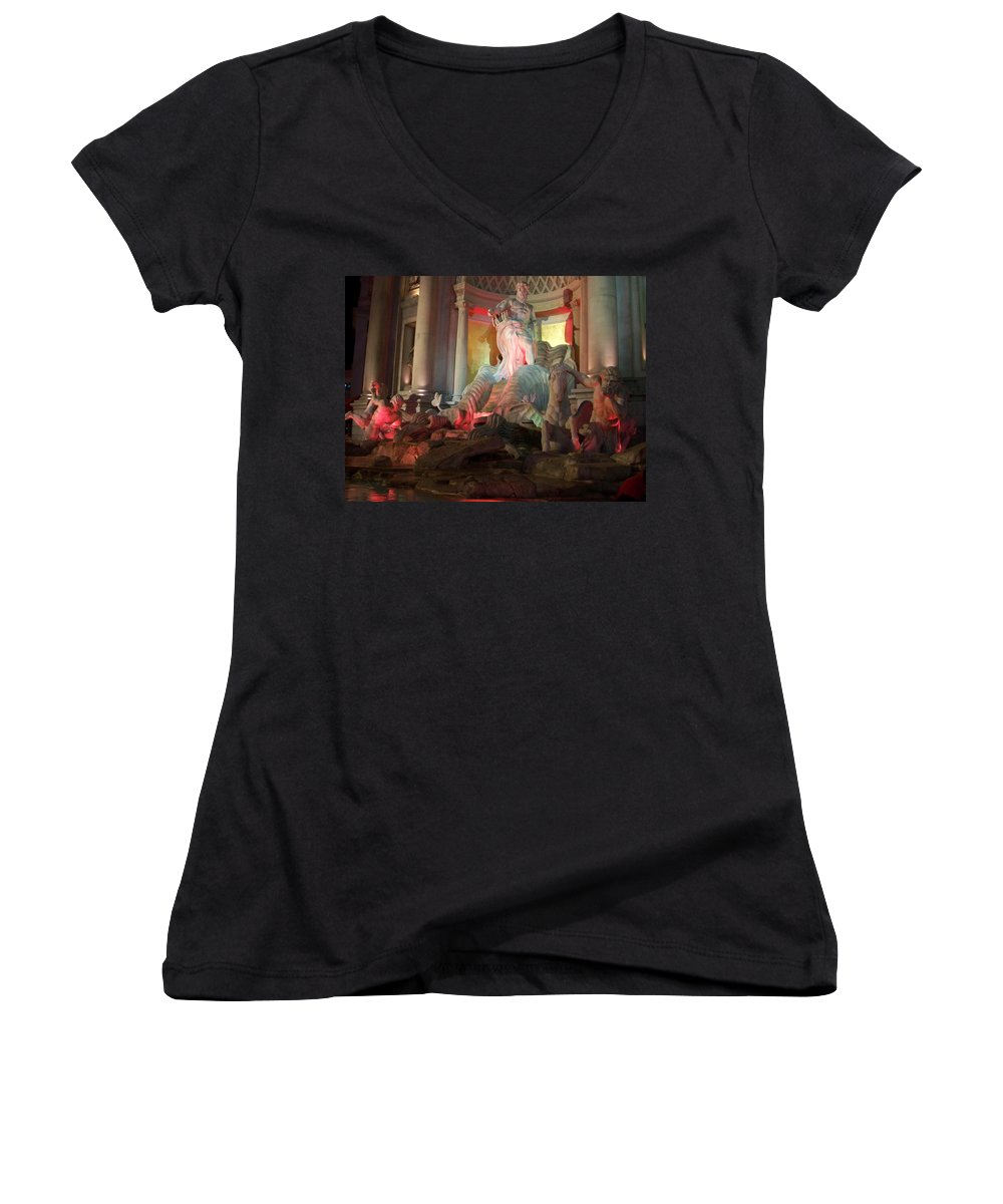 Ceasars Palace Women's V-Neck T-Shirt featuring the photograph Statues At Ceasars Palace by Anita Burgermeister