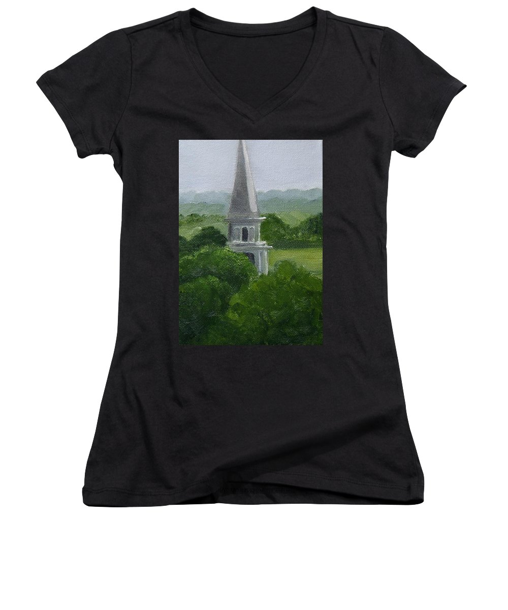 Steeple Women's V-Neck (Athletic Fit) featuring the painting Steeple by Toni Berry