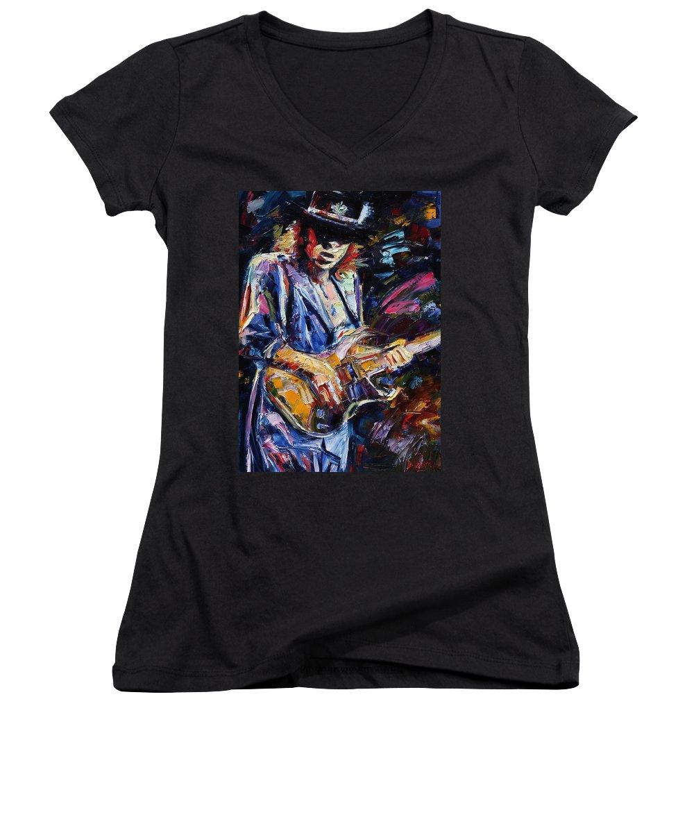 Stevie Ray Vaughan Painting Women's V-Neck (Athletic Fit) featuring the painting Stevie Ray Vaughan by Debra Hurd