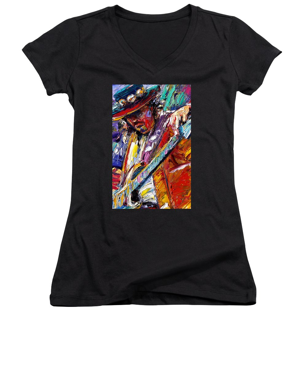 Rock Women's V-Neck T-Shirt featuring the painting Stevie Ray Vaughan Number One by Debra Hurd