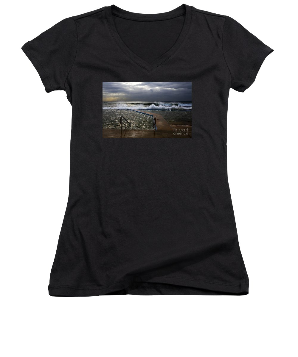Storm Clouds Collaroy Beach Australia Women's V-Neck (Athletic Fit) featuring the photograph Stormy Morning At Collaroy by Sheila Smart Fine Art Photography