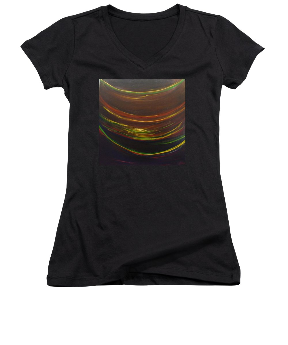 Rainbow Red Yellow Obama Women's V-Neck (Athletic Fit) featuring the painting Strata Surf by Jack Diamond