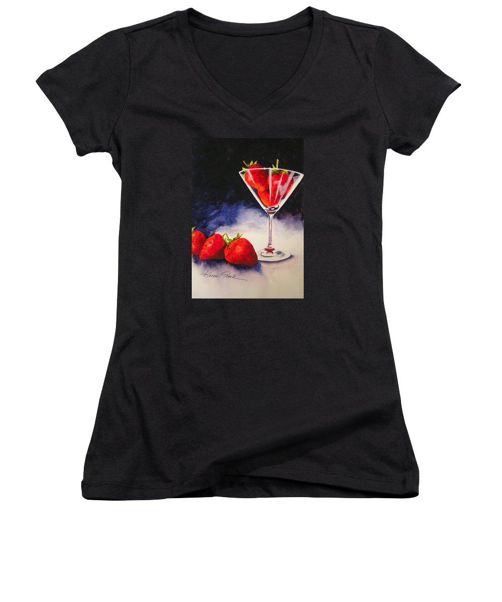 Strawberry Women's V-Neck T-Shirt featuring the painting Strawberrytini by Karen Stark