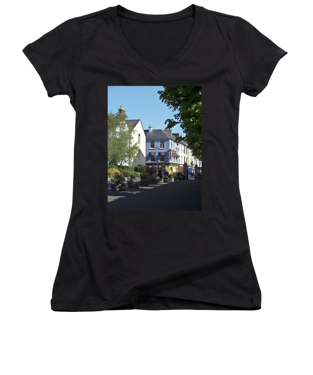 Irish Women's V-Neck (Athletic Fit) featuring the photograph Street Corner In Tralee Ireland by Teresa Mucha