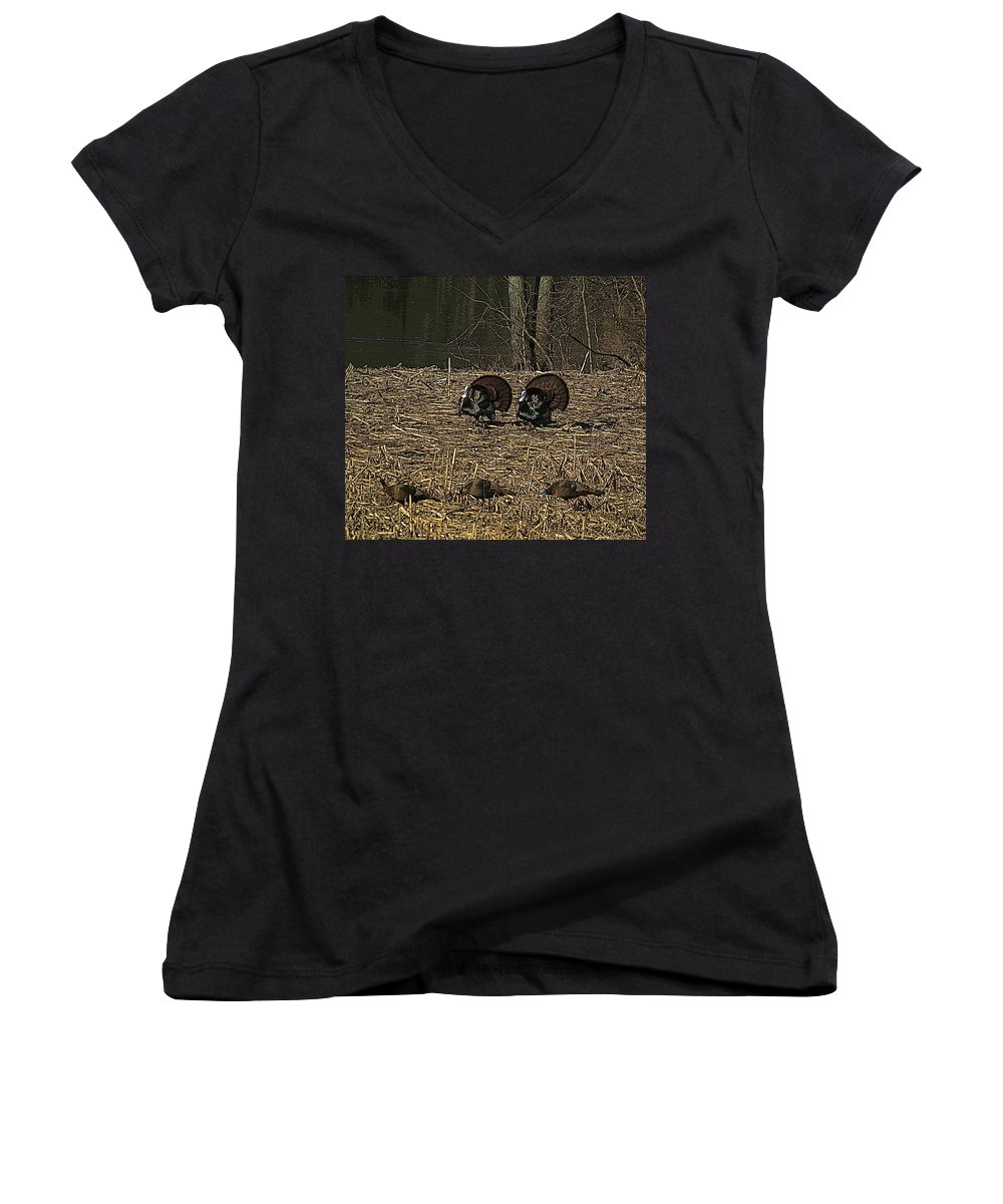 Turkey Women's V-Neck T-Shirt featuring the photograph Strutin For The Ladies by Robert Pearson