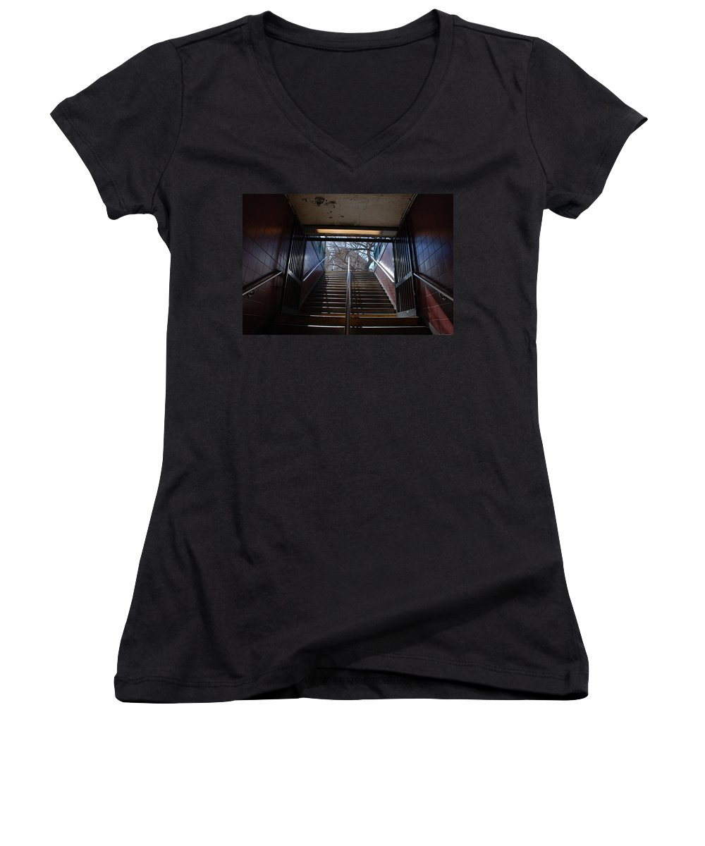 Pop Art Women's V-Neck T-Shirt featuring the photograph Subway Stairs To Freedom by Rob Hans