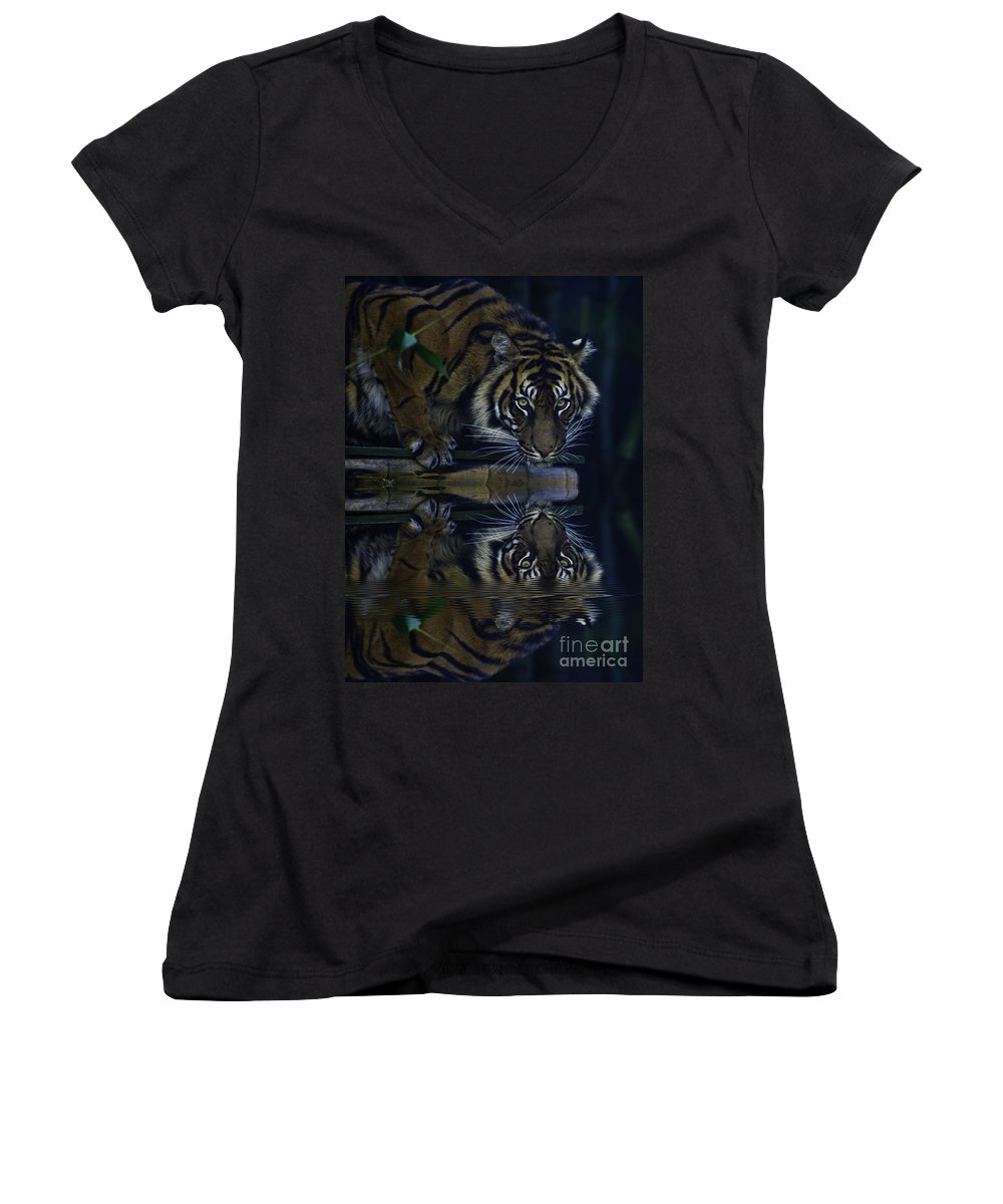 Sumatran Tiger Women's V-Neck T-Shirt featuring the photograph Sumatran Tiger Reflection by Avalon Fine Art Photography