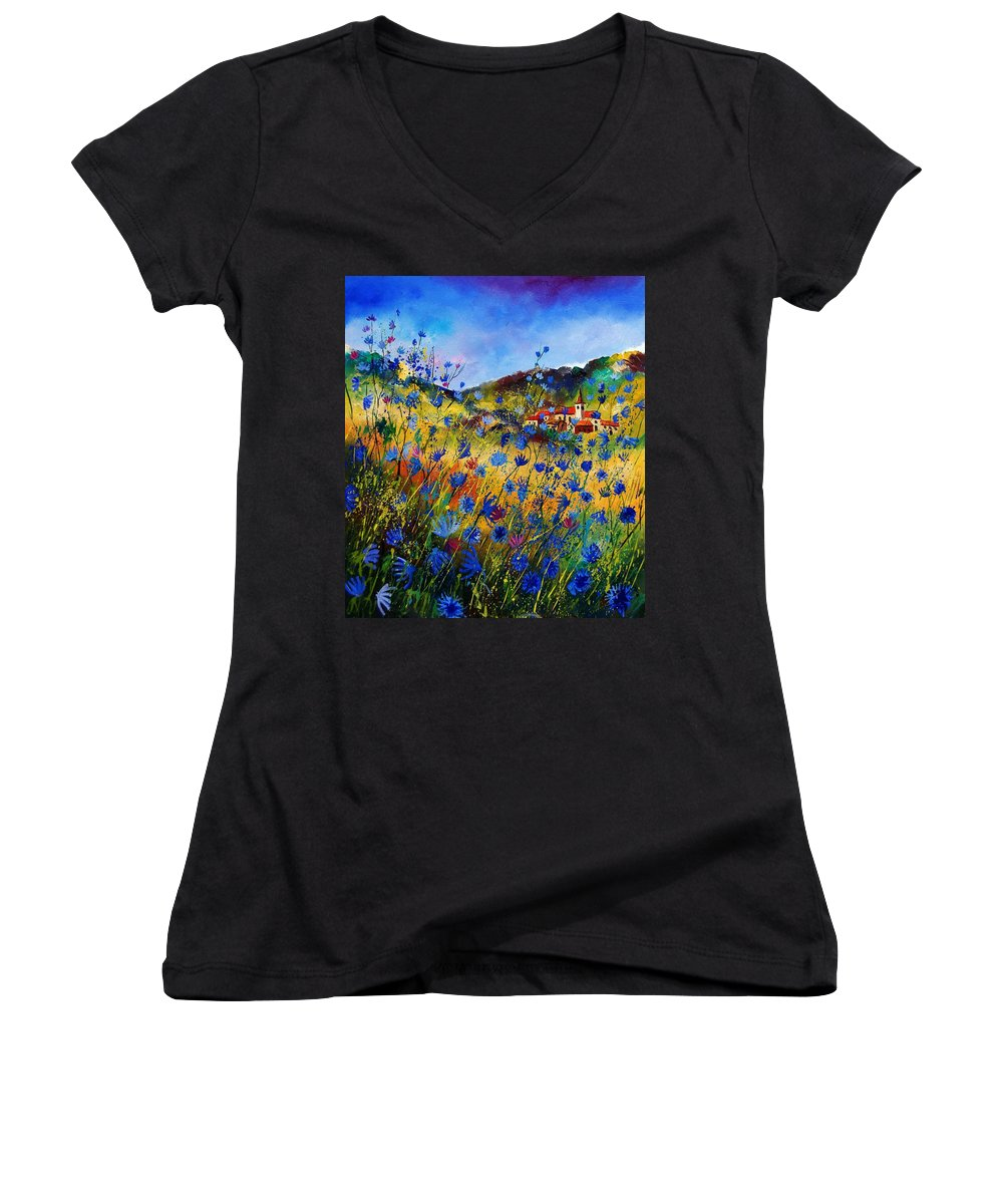 Flowers Women's V-Neck (Athletic Fit) featuring the painting Summer Glory by Pol Ledent