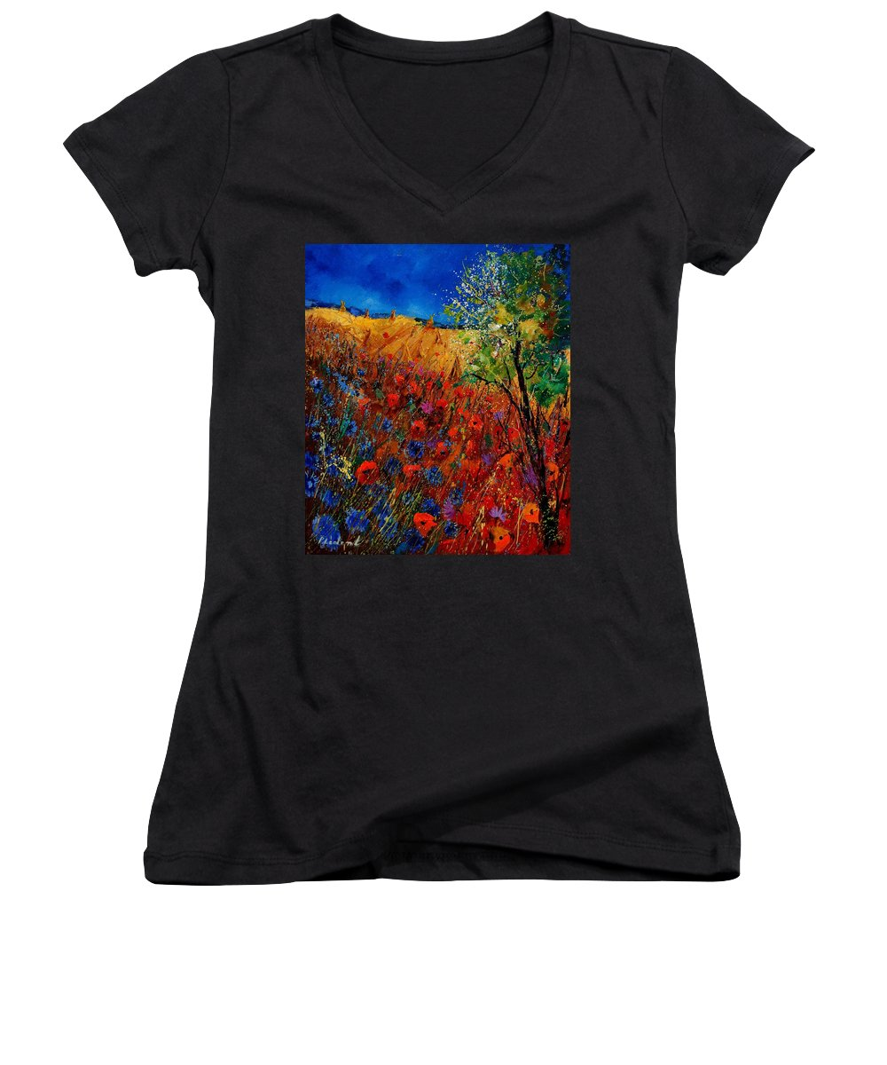 Flowers Women's V-Neck (Athletic Fit) featuring the painting Summer Landscape With Poppies by Pol Ledent