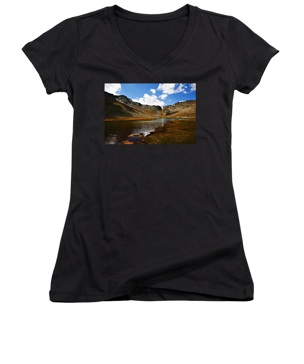 Travel Women's V-Neck (Athletic Fit) featuring the photograph Summit Lake Colorado by Marilyn Hunt
