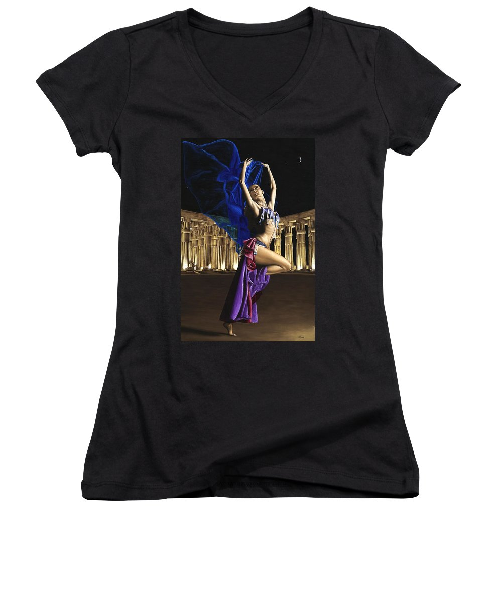 Belly Women's V-Neck T-Shirt featuring the painting Sun Court Dancer by Richard Young