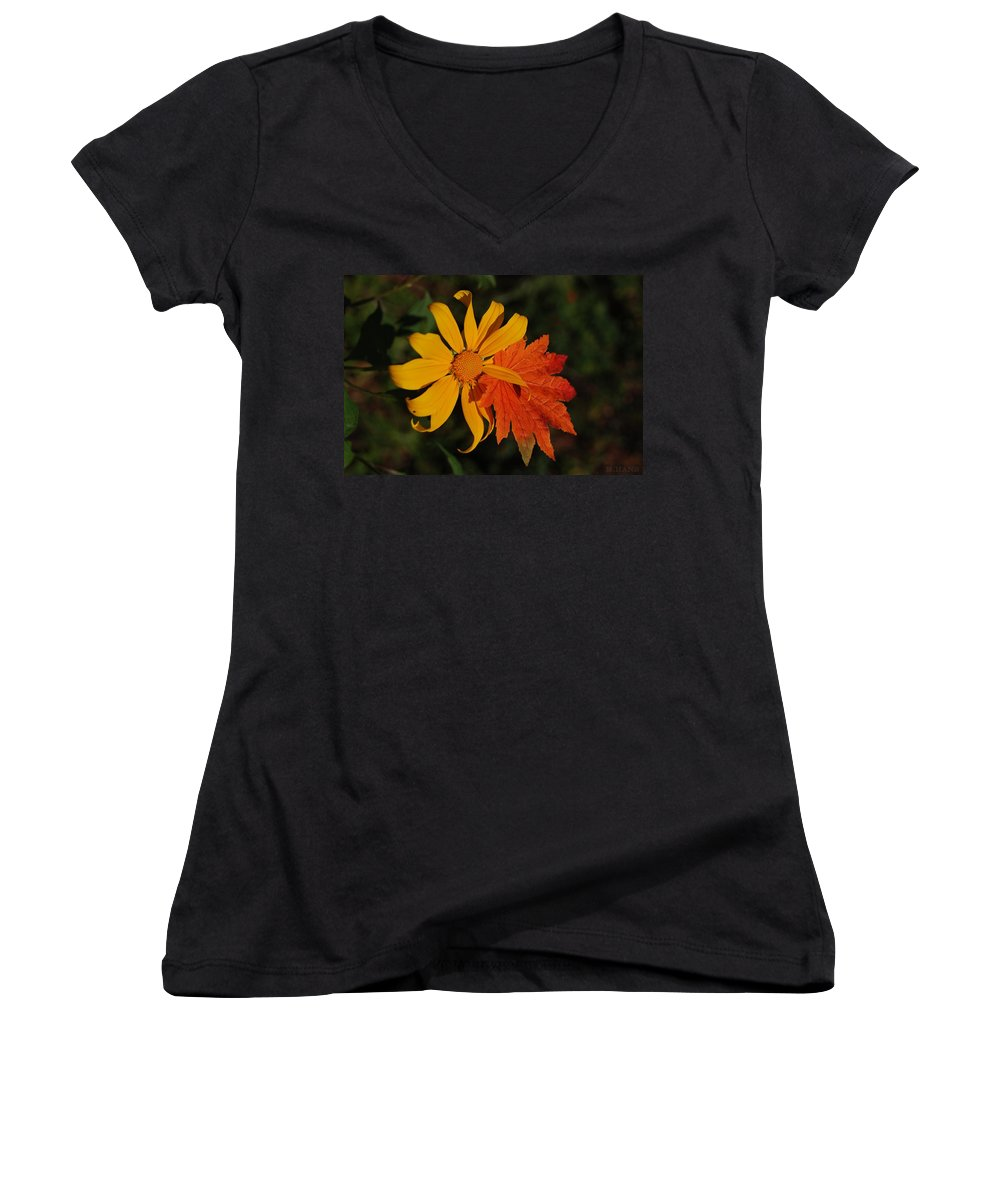 Pop Art Women's V-Neck (Athletic Fit) featuring the photograph Sun Flower And Leaf by Rob Hans