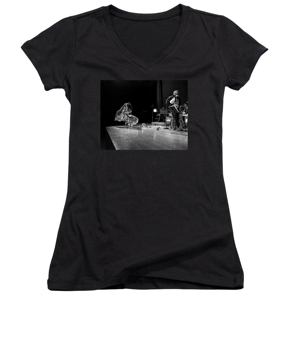 Jazz Women's V-Neck T-Shirt featuring the photograph Sun Ra Arkestra At Freeborn Hall by Lee Santa