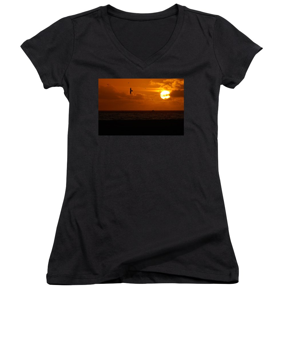 Clay Women's V-Neck T-Shirt featuring the photograph Sundown Flight by Clayton Bruster