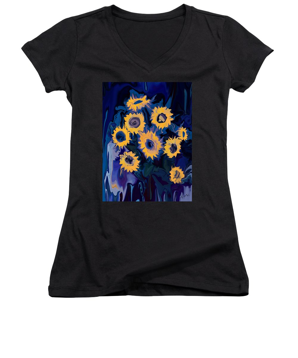 Art Women's V-Neck (Athletic Fit) featuring the digital art Sunflower 1 by Rabi Khan