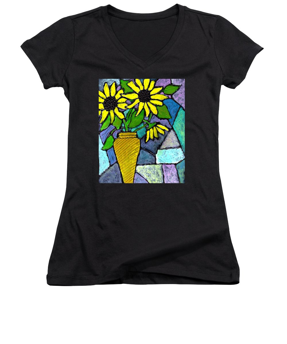 Flowers Women's V-Neck T-Shirt featuring the painting Sunflowers In A Vase by Wayne Potrafka