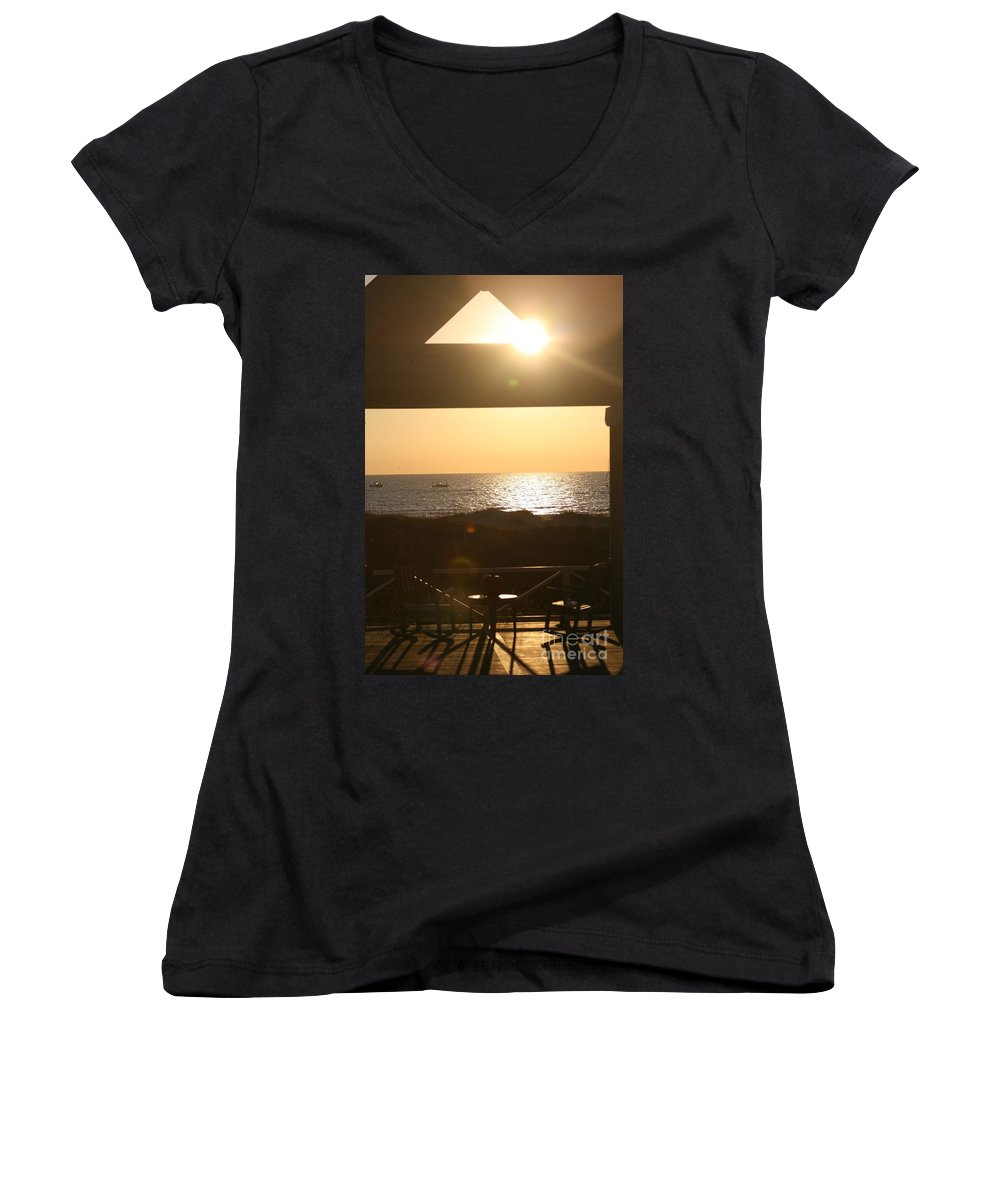 Sunrise Women's V-Neck (Athletic Fit) featuring the photograph Sunrise Through The Pavilion by Nadine Rippelmeyer