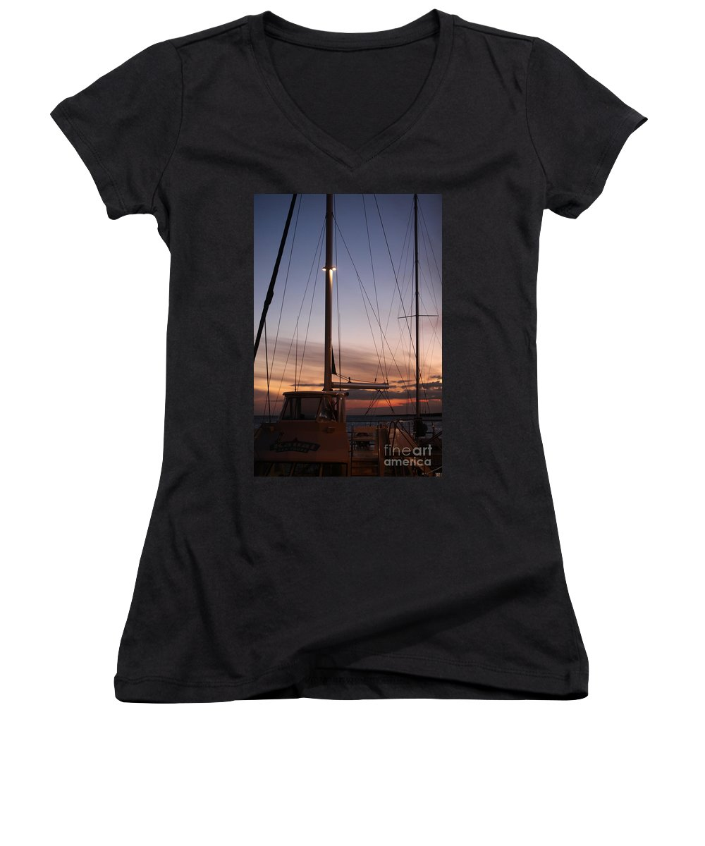 Sunset Women's V-Neck T-Shirt featuring the photograph Sunset And Sailboat by Nadine Rippelmeyer