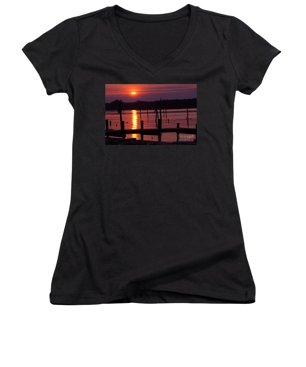 Clay Women's V-Neck T-Shirt featuring the photograph Sunset At Colonial Beach by Clayton Bruster
