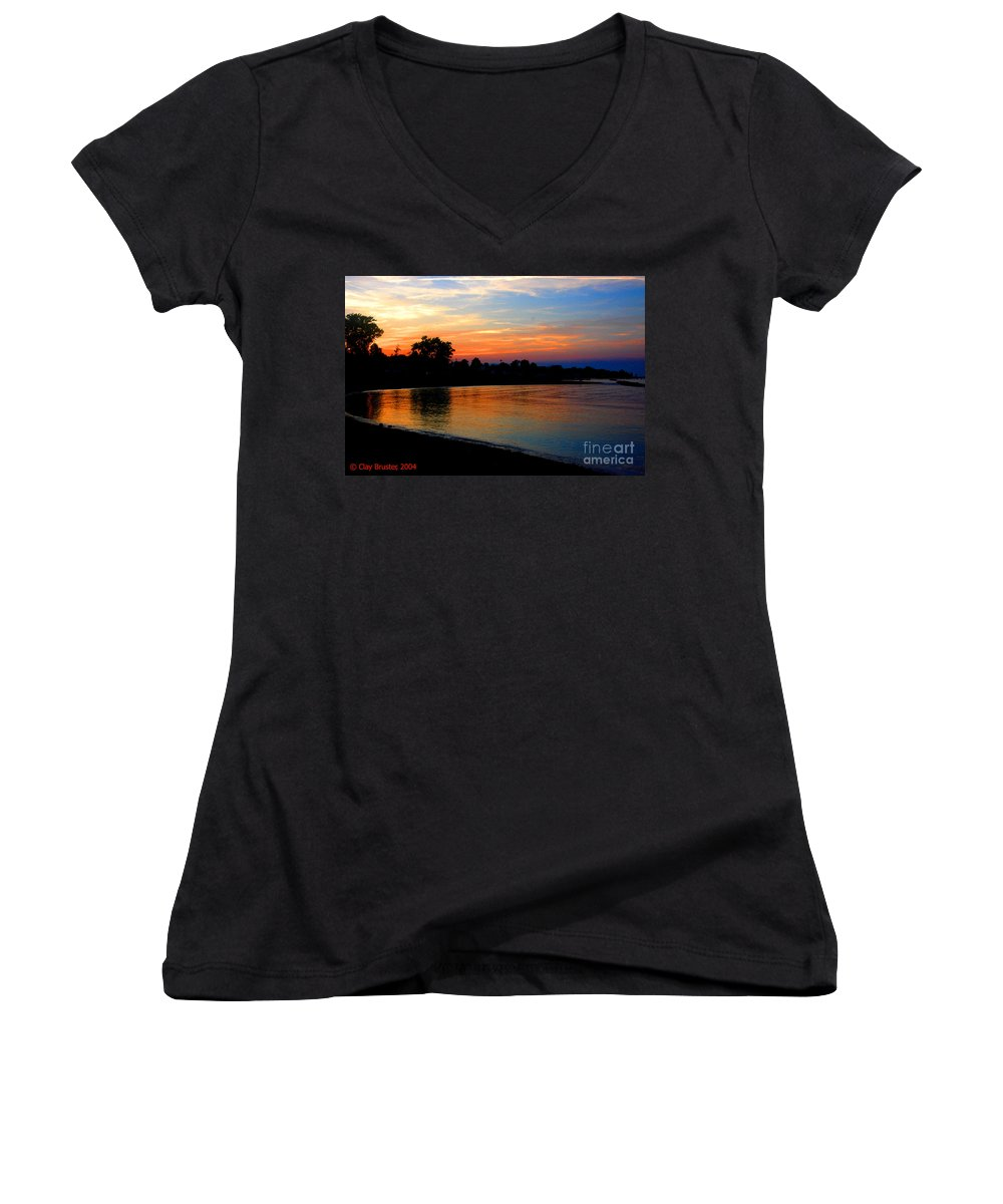Clay Women's V-Neck T-Shirt featuring the photograph Sunset At Colonial Beach Cove by Clayton Bruster