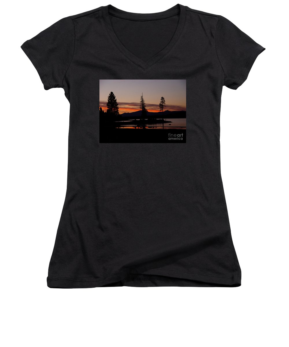 Lake Almanor Women's V-Neck T-Shirt featuring the photograph Sunset At Lake Almanor 02 by Peter Piatt