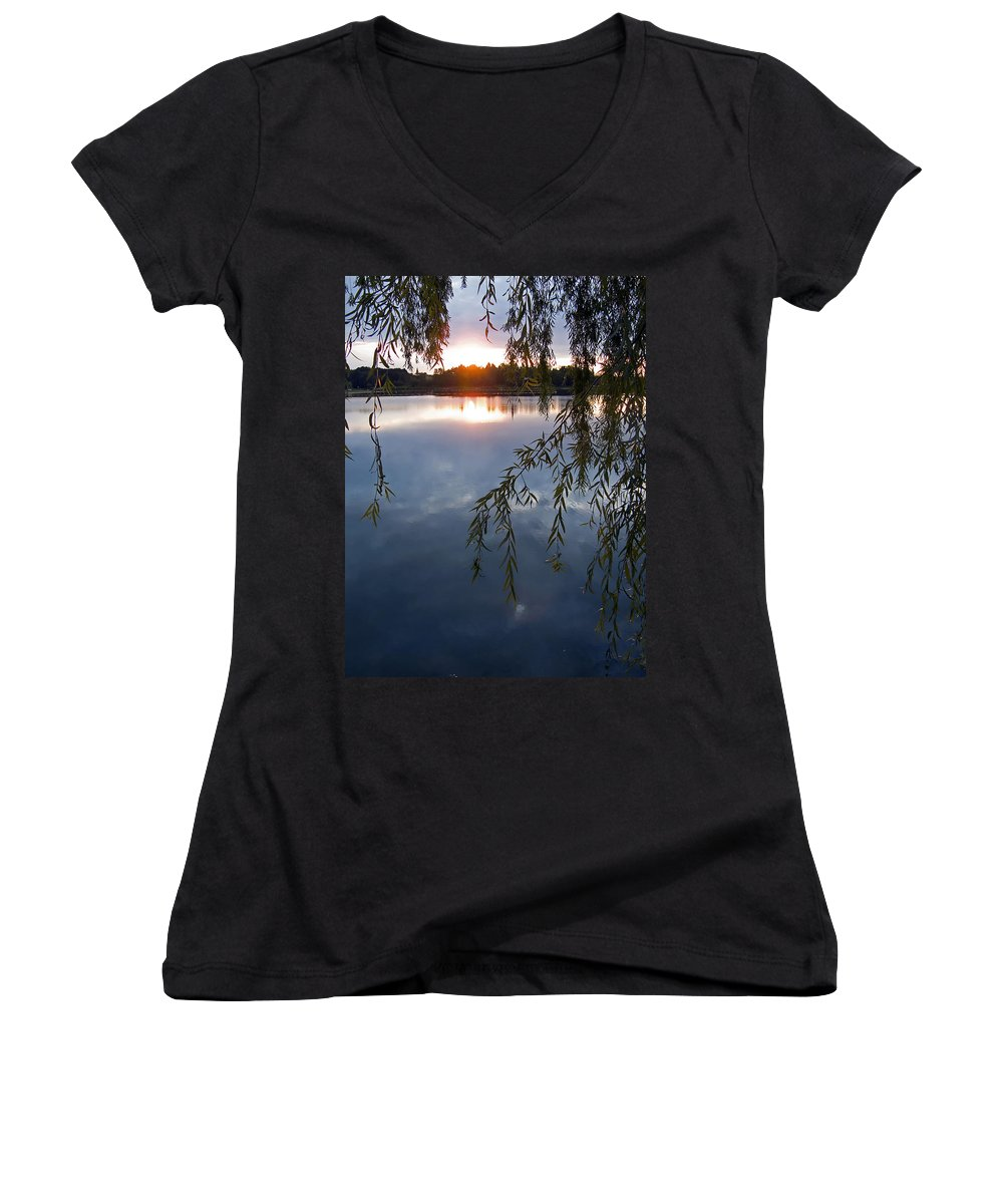 Nature Women's V-Neck (Athletic Fit) featuring the photograph Sunset by Daniel Csoka