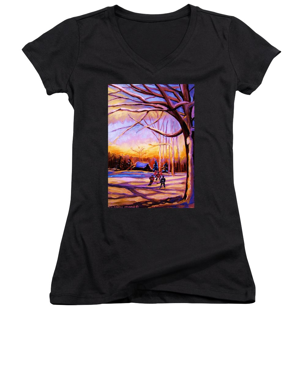 Sunset Over Hockey Women's V-Neck T-Shirt featuring the painting Sunset Over The Hockey Game by Carole Spandau