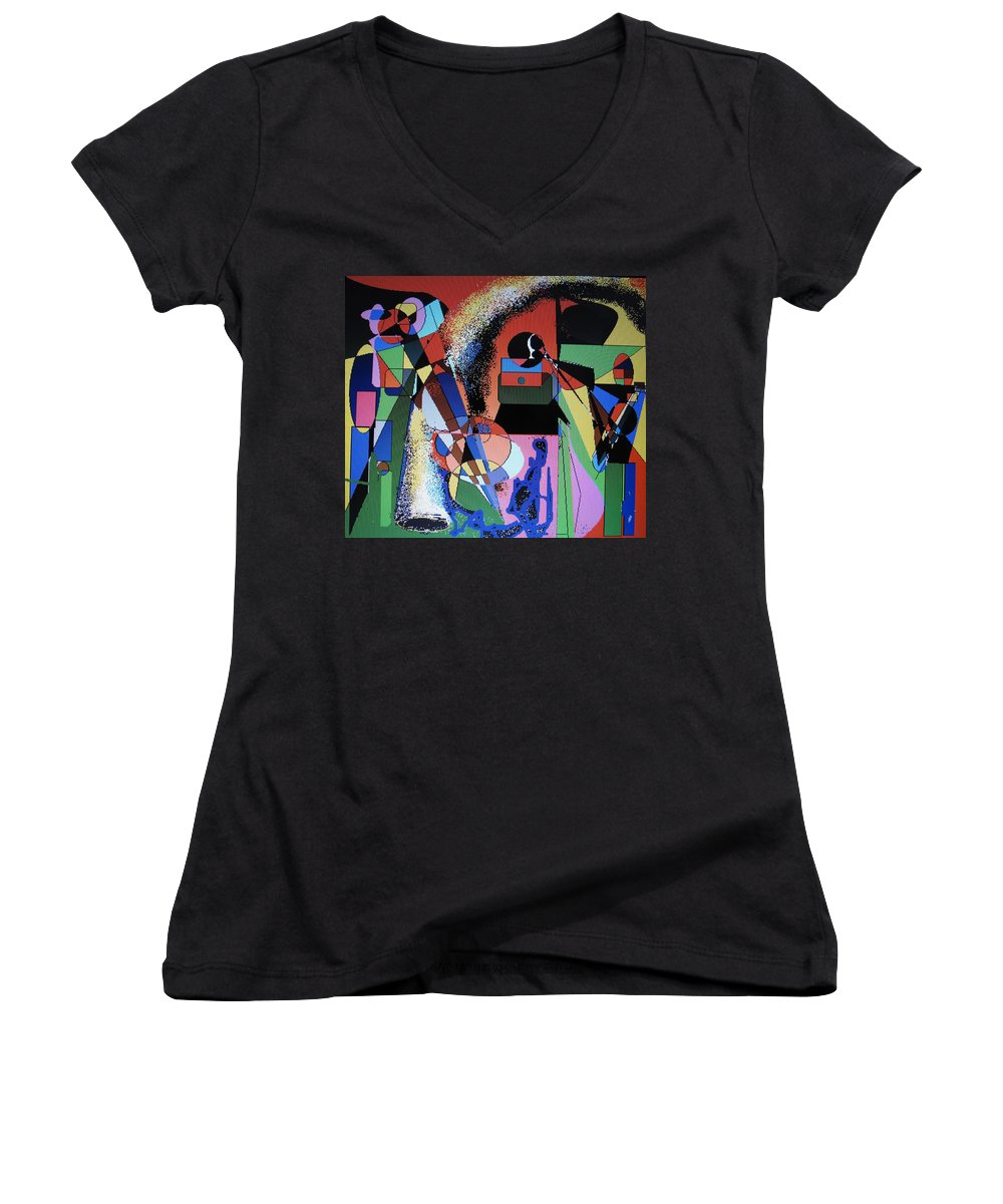 Jazz Women's V-Neck T-Shirt featuring the digital art Swinging Trio by Ian MacDonald