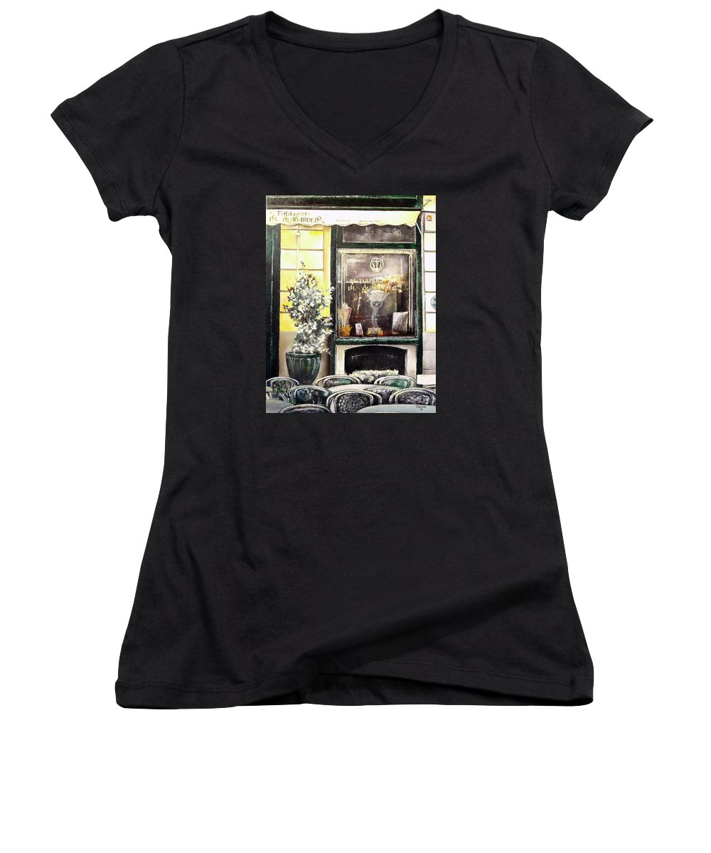 Old Women's V-Neck (Athletic Fit) featuring the painting Taberna Del Alabardero-madrid by Tomas Castano