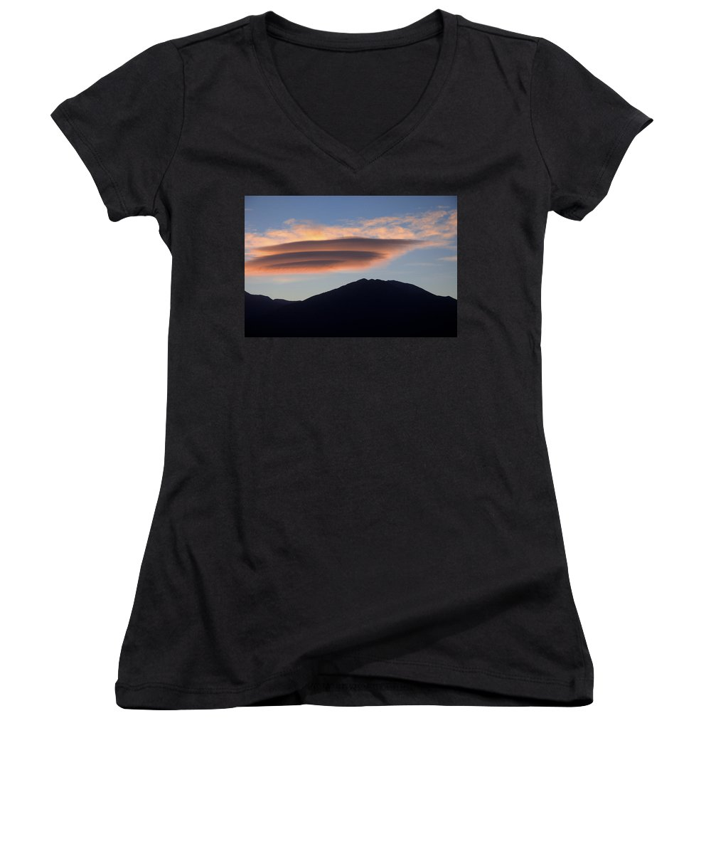 Taos Women's V-Neck T-Shirt featuring the photograph Taos Sunset by Jerry McElroy