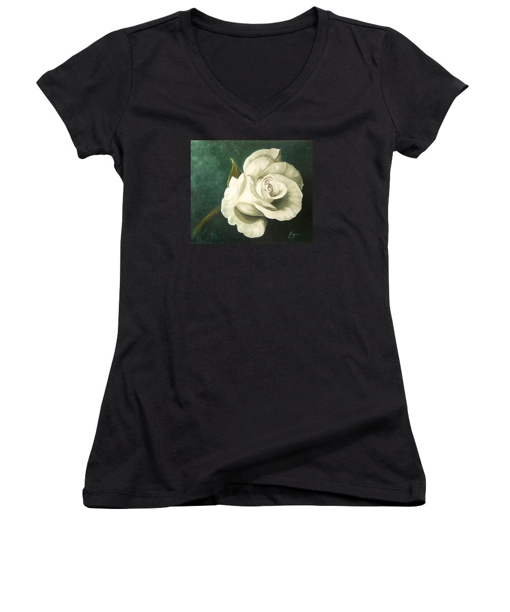 Rose Flower Still Life White Women's V-Neck (Athletic Fit) featuring the painting Tea Rose by Natalia Tejera
