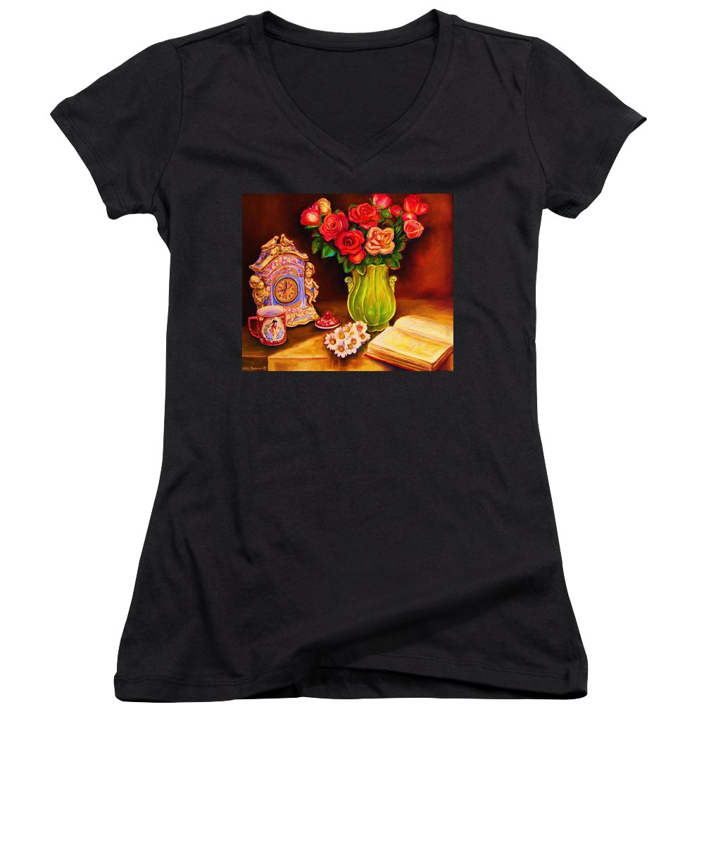 Impressionism Women's V-Neck (Athletic Fit) featuring the painting Teacup And Roses by Carole Spandau