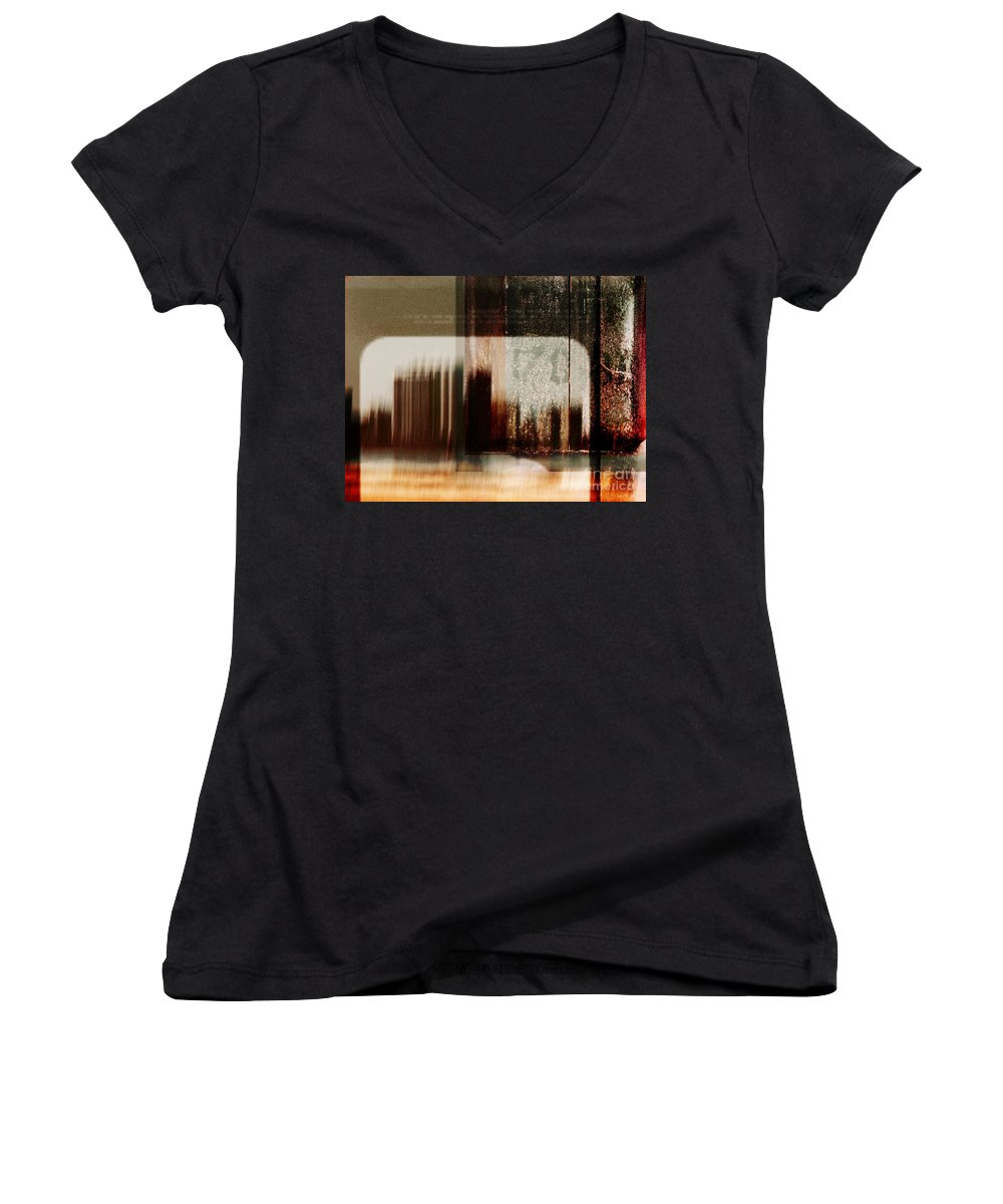Dipasquale Women's V-Neck T-Shirt featuring the photograph That Day In The City When We Lost Track Of Time by Dana DiPasquale