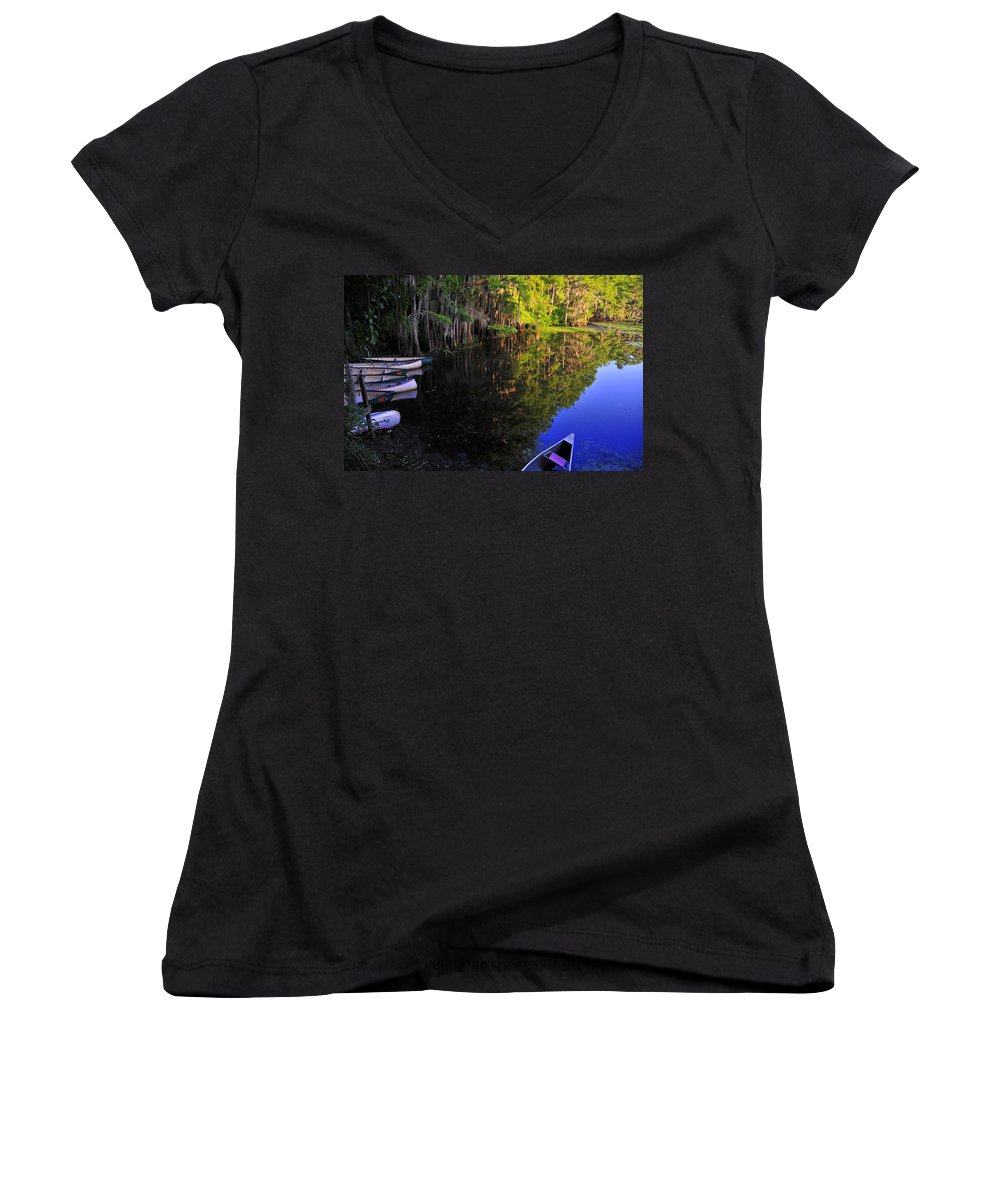 Skip Hunt Women's V-Neck T-Shirt featuring the photograph The Black Lagoon by Skip Hunt