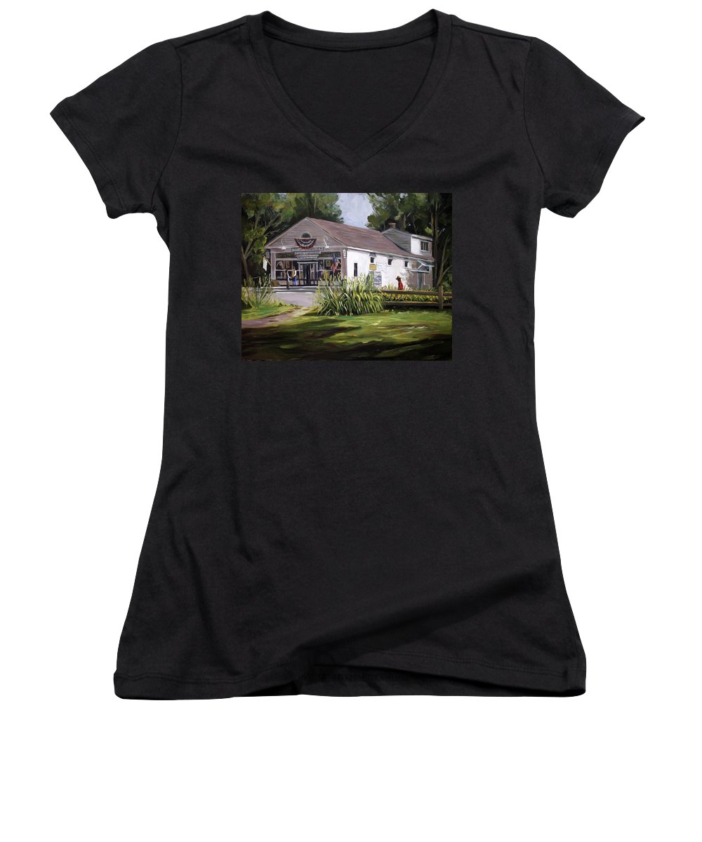 Buildings Women's V-Neck T-Shirt featuring the painting The Country Store by Nancy Griswold