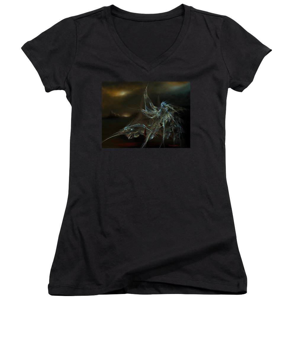 Dragon Warrior Medieval Fantasy Darkness Women's V-Neck (Athletic Fit) featuring the digital art The Dragon Warrior by Veronica Jackson