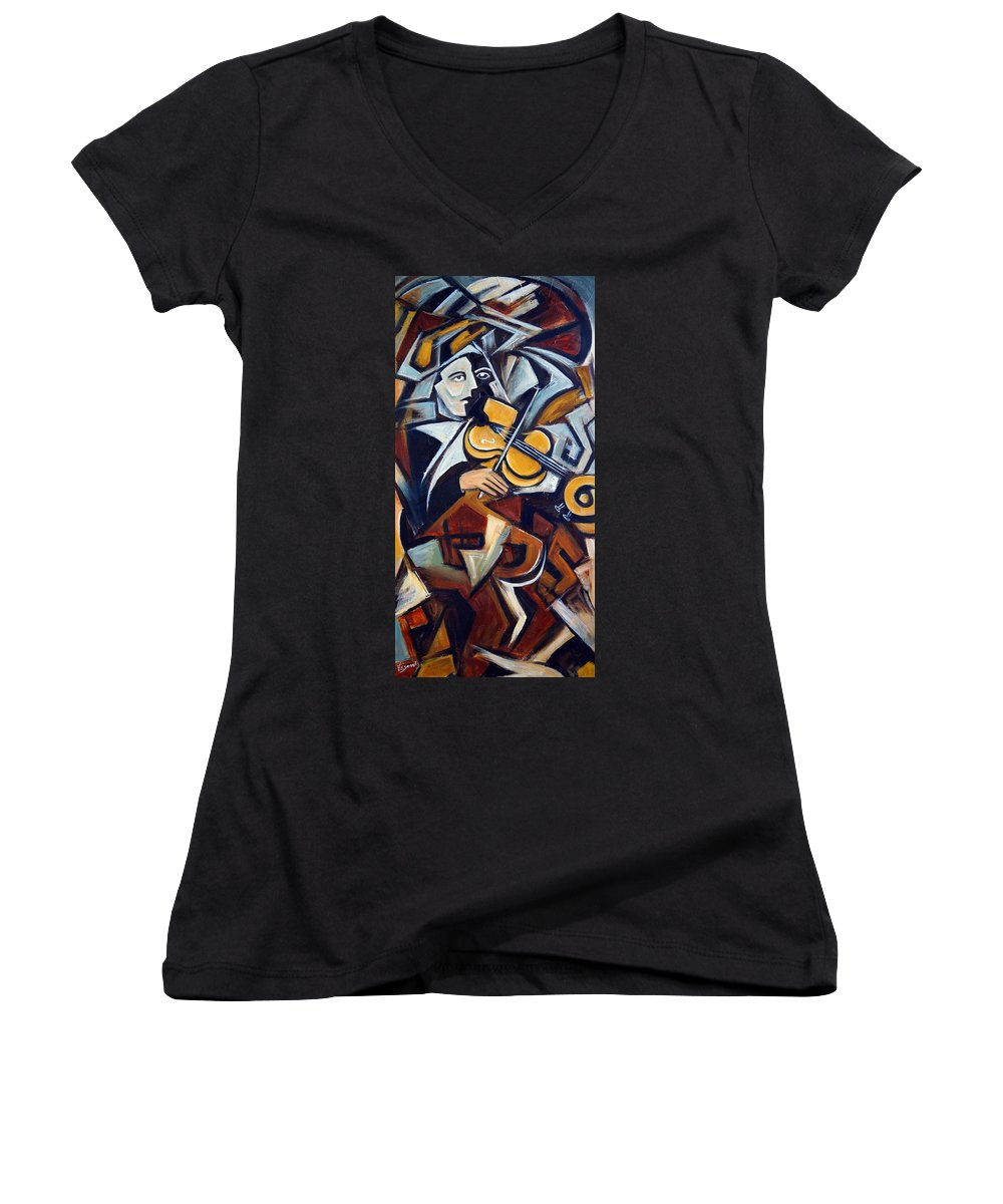 Musician Women's V-Neck (Athletic Fit) featuring the painting The Fiddler by Valerie Vescovi