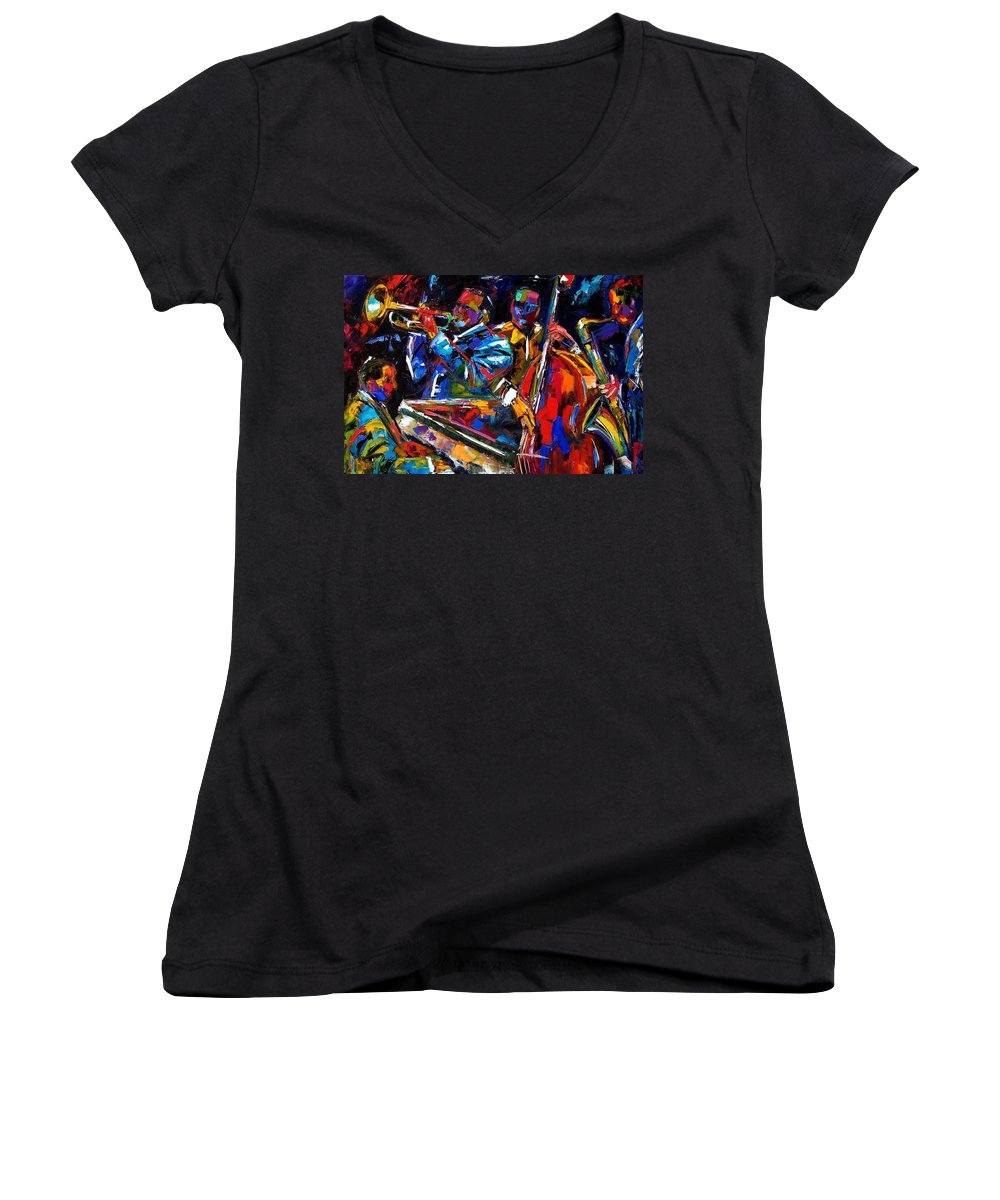 Jazz Women's V-Neck T-Shirt featuring the painting The First Set by Debra Hurd