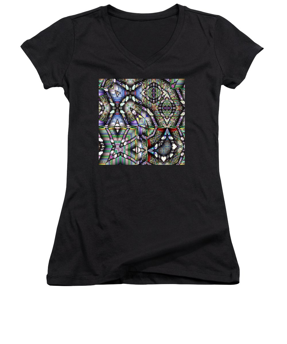 Abstract Women's V-Neck (Athletic Fit) featuring the painting The Four Horsemen Of The Apocalypse by RC deWinter