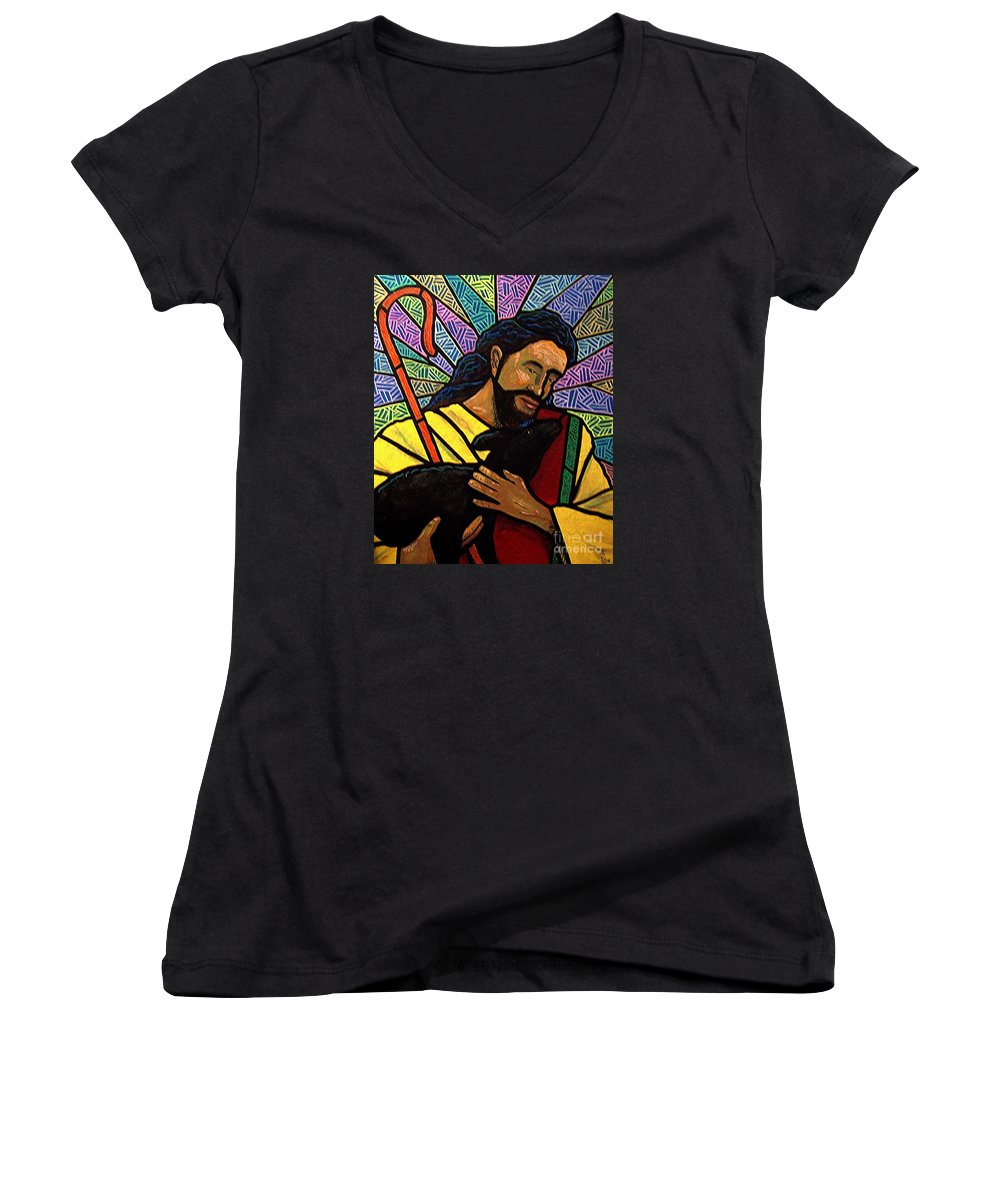 Jesus Women's V-Neck (Athletic Fit) featuring the painting The Good Shepherd - Practice Painting One by Jim Harris