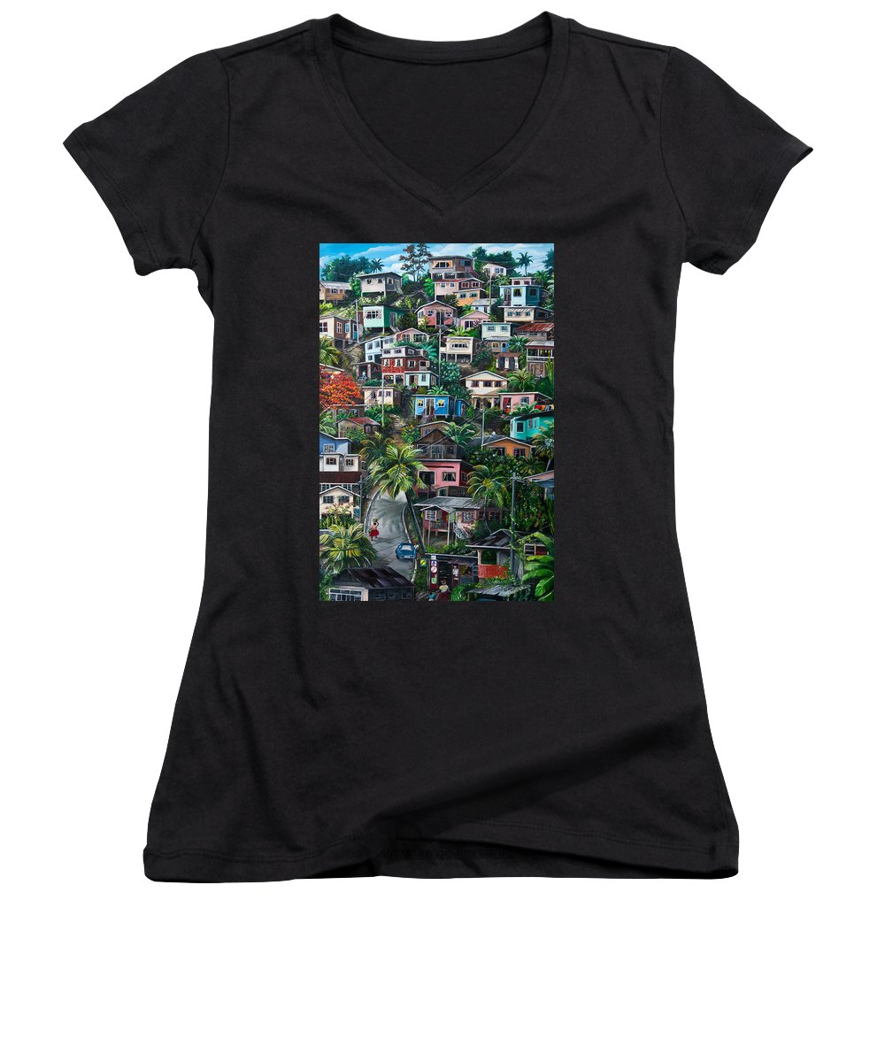 Landscape Painting Cityscape Painting Houses Painting Hill Painting Lavantille Port Of Spain Painting Trinidad And Tobago Painting Caribbean Painting Tropical Painting Caribbean Painting Original Painting Greeting Card Painting Women's V-Neck T-Shirt featuring the painting The Hill   Trinidad by Karin Dawn Kelshall- Best