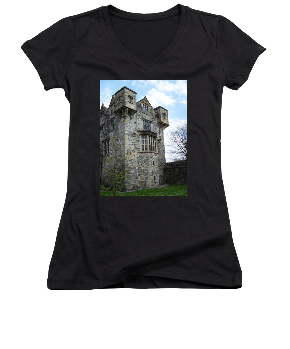 Ireland Women's V-Neck (Athletic Fit) featuring the photograph The Keep At Donegal Castle Ireland by Teresa Mucha
