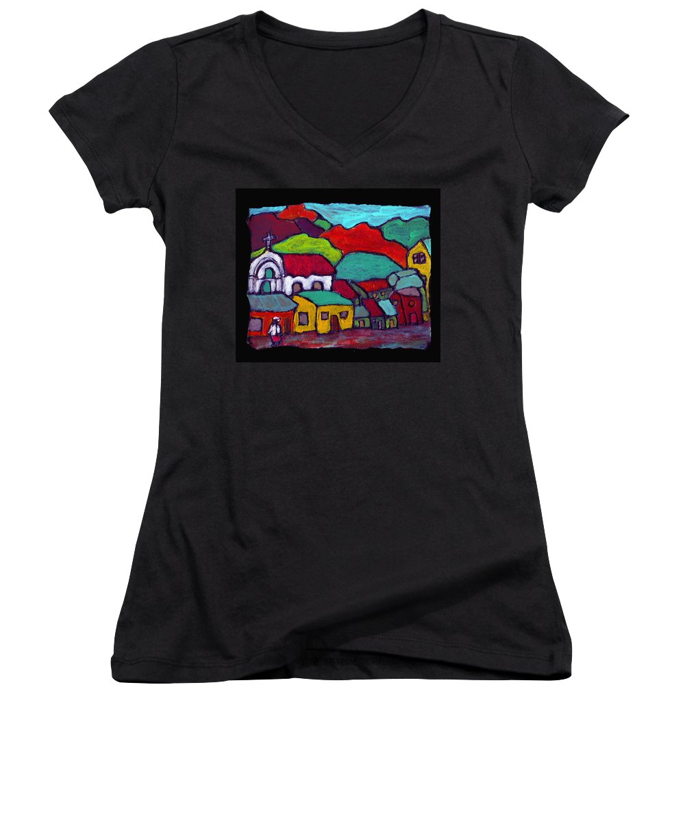 Village Women's V-Neck T-Shirt featuring the painting The Mission by Wayne Potrafka