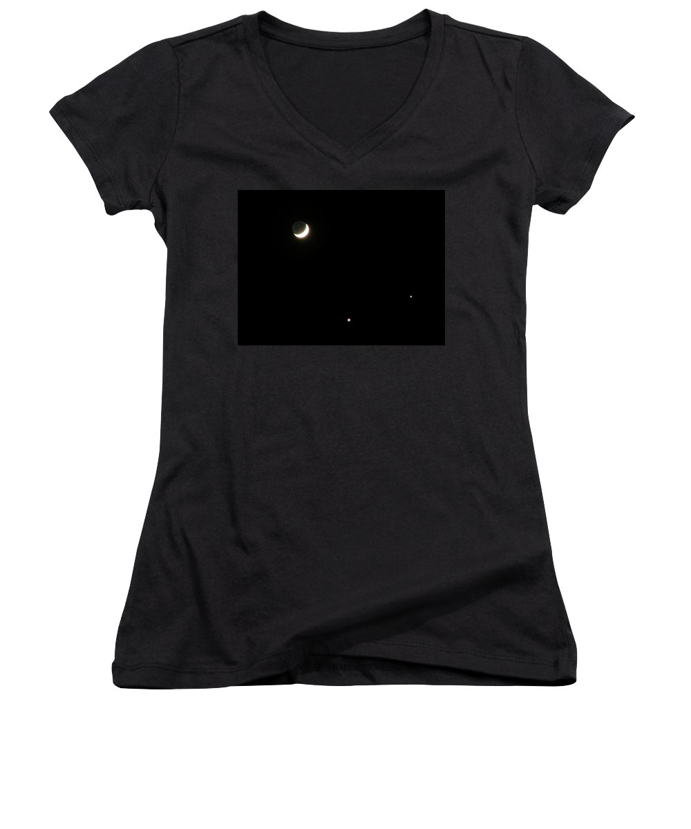 Moon Women's V-Neck T-Shirt featuring the photograph The Moon And Stars by Gale Cochran-Smith