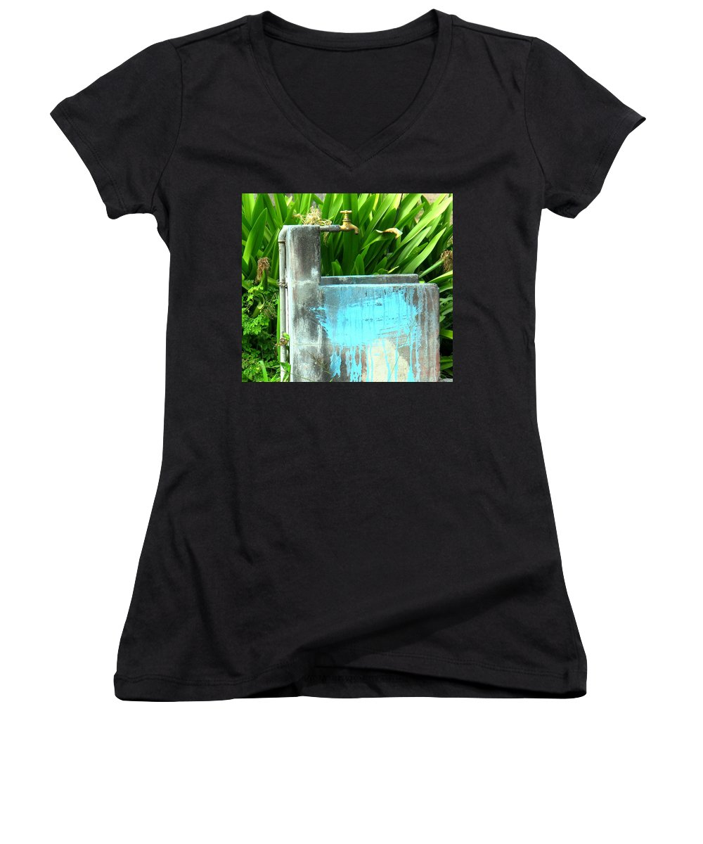 Water Women's V-Neck T-Shirt featuring the photograph The Neighborhood Water Pipe by Ian MacDonald