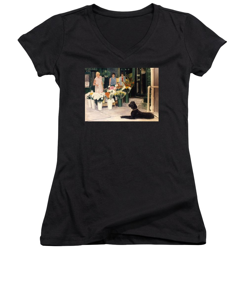 Mums Women's V-Neck T-Shirt featuring the painting The New Deal by Steve Karol