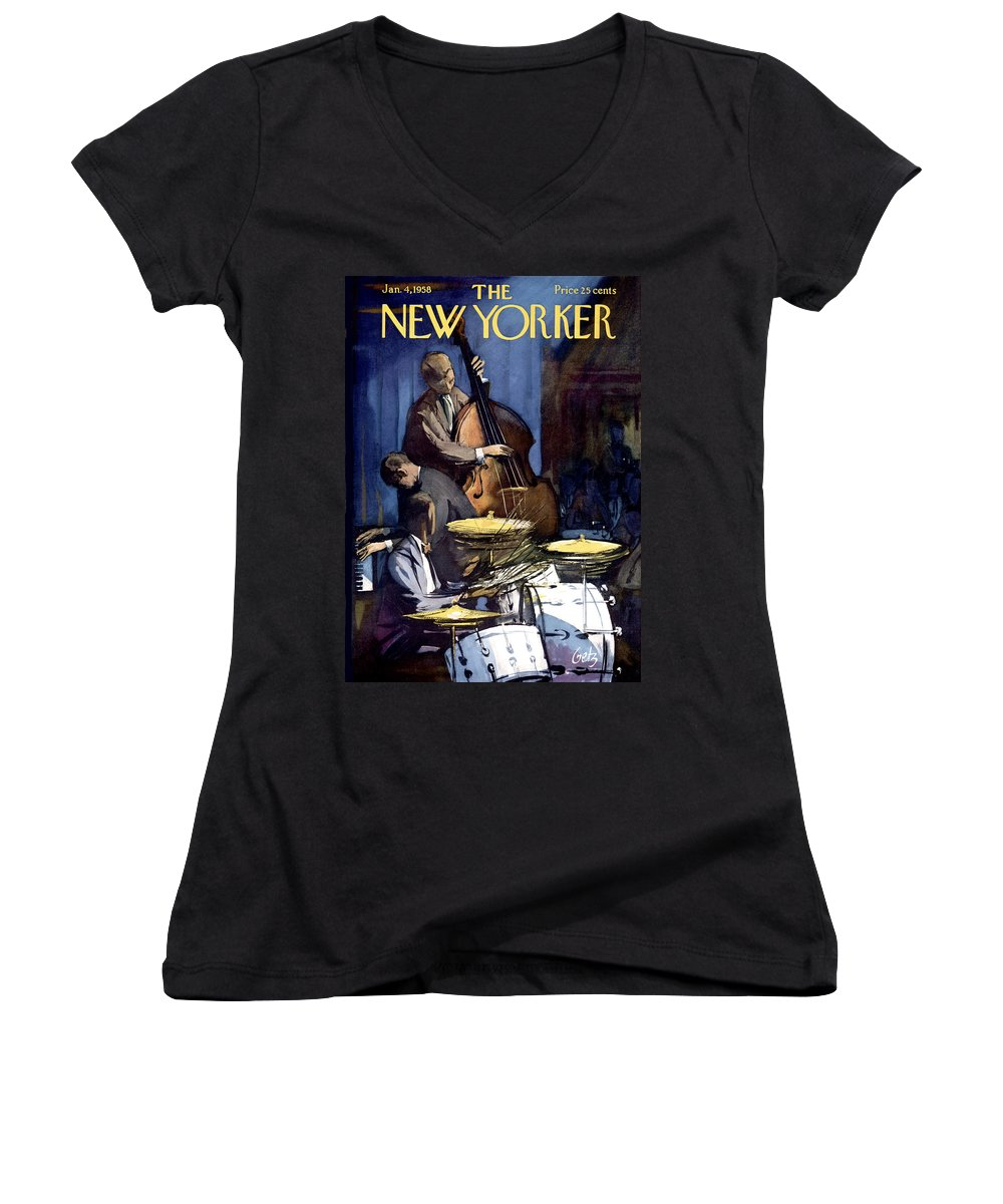 Concert Women's V-Neck featuring the painting New Yorker January 4th, 1958 by Arthur Getz
