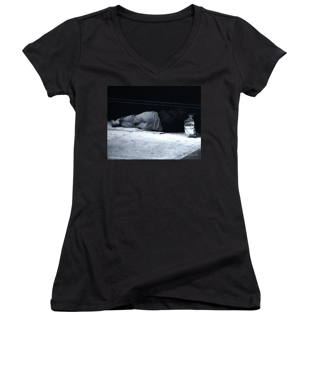 Homeless Women's V-Neck (Athletic Fit) featuring the photograph The Sidewalks Of New York by RC deWinter