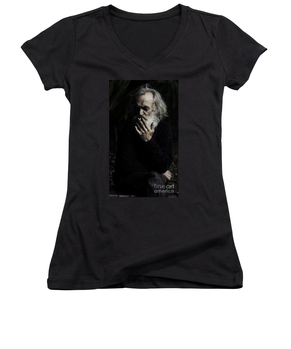 Homeless Male Smoking Smoker Aged Women's V-Neck T-Shirt featuring the photograph The Smoker by Avalon Fine Art Photography